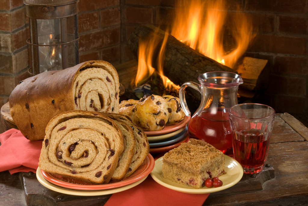 Food Photography Cinnamon Bread and Scones by the fire